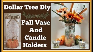 Dollar Tree Diy 🍁 Fall Vase and Candle Holders
