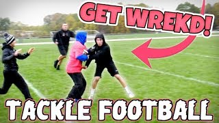 WORLD'S MOST ENTERTAINING BACK YARD TACKLE FOOTBALL GAME!! (IRL FOOTBALL MATCH)