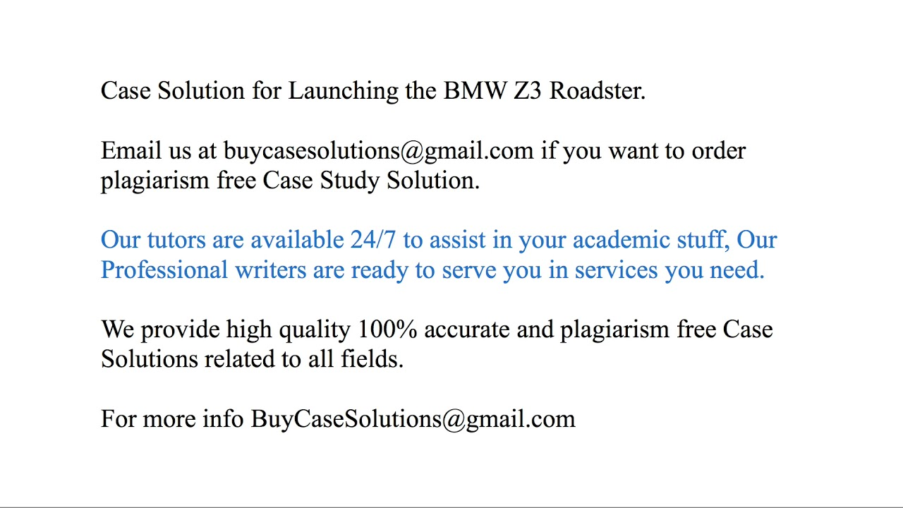 case study launching the bmw z3 roadster