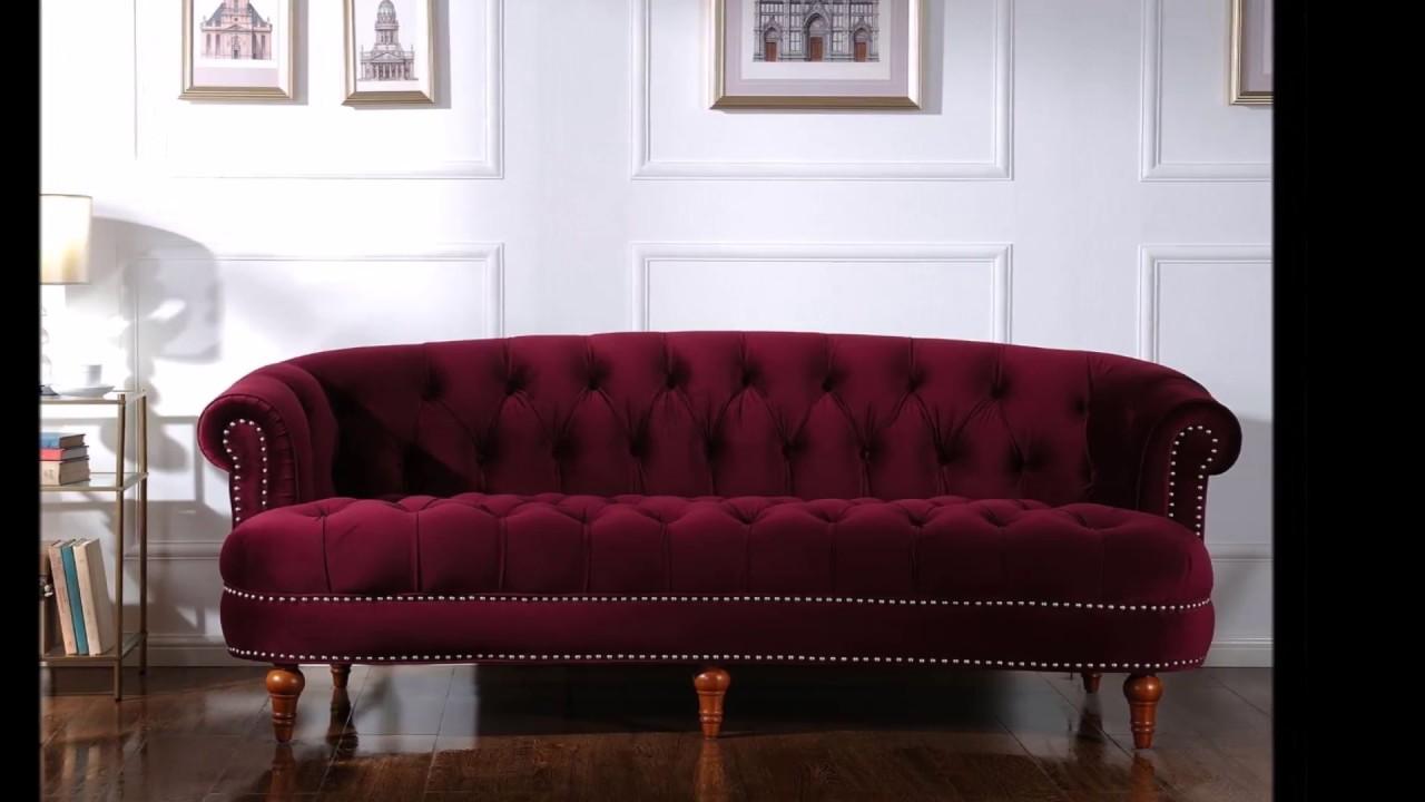 Jennifer Taylor La Rosa Chesterfield Sofa, Burgundy