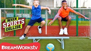 WHEN SPORTS COLLIDE | Extreme Hurdling Penalty Kicks (Soccer + Hurdling)