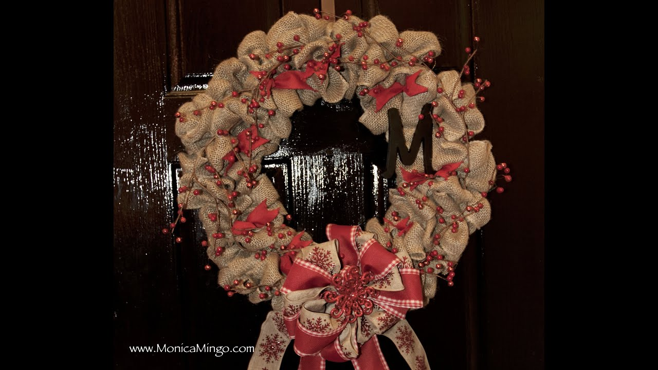 How to make a burlap wreath for christmas easy and Making wreaths