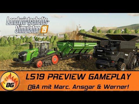 LS19 PREVIEW GAMEPLAY   Q&A mit Marc, Ansgar & Werner!   FARMING SIMULATOR 19 [HD]