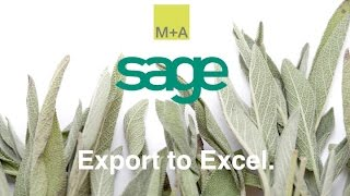 Sage - Exporting your data to Excel