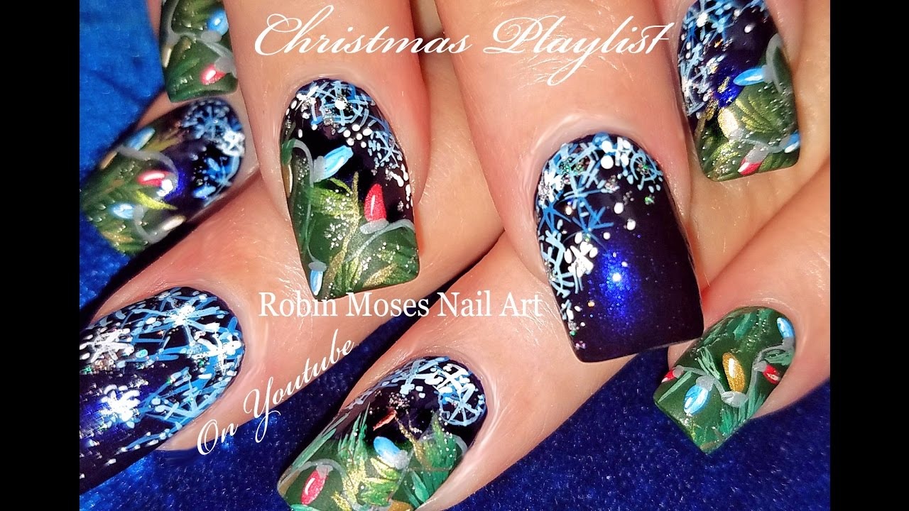 Hand Painted Christmas Lights And Snowflake Nails Blue Xmas Nail