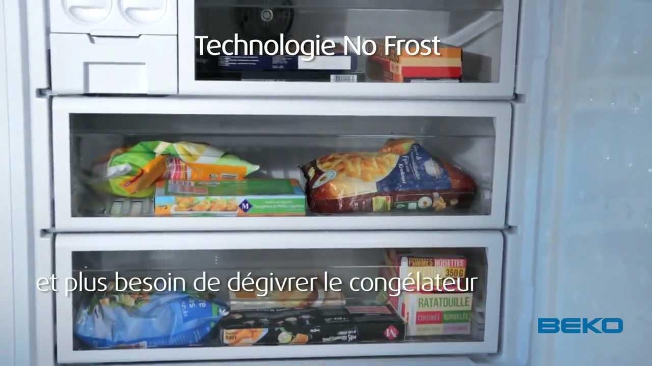 réfrigérateur combiné 84cm no frost beko cne60520d - youtube