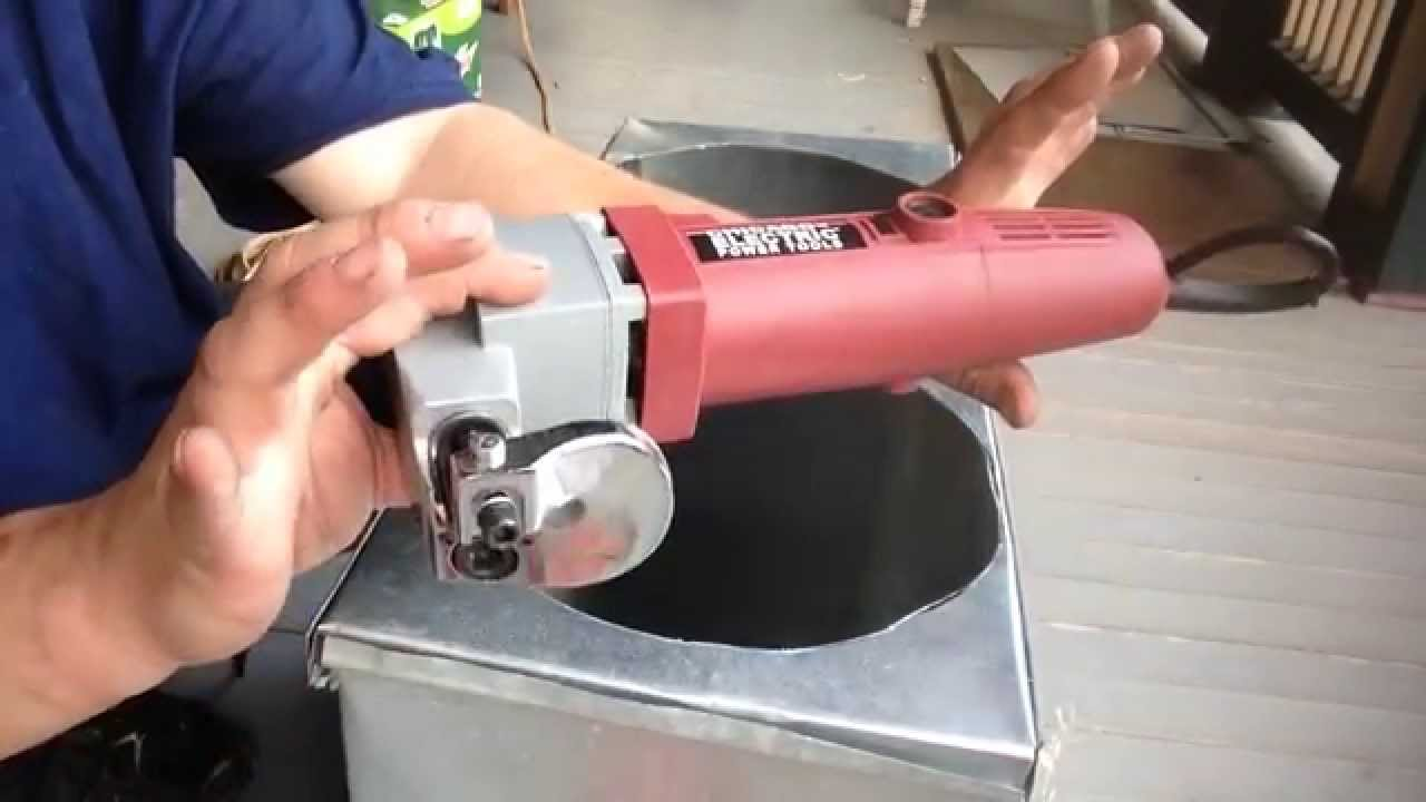 Cut round hole with harbor freight sheet metal sheer - YouTube