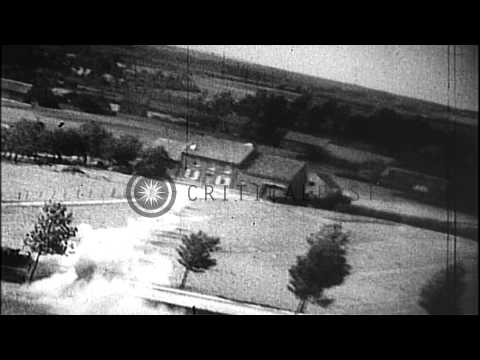 USAAF fighter planes shooting down German airplanes and strafe lines of communica...HD Stock Footage