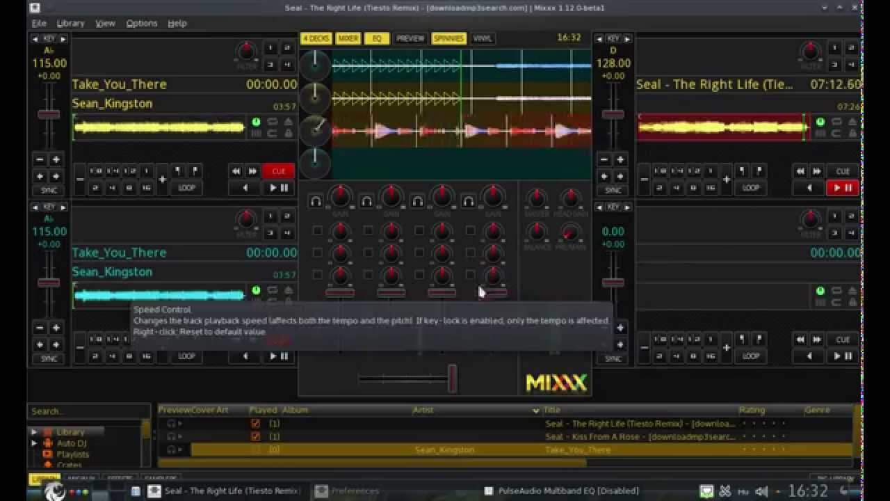 Party studio & DJ Mixer with blackPanther OS - Mixxx + Equalizer