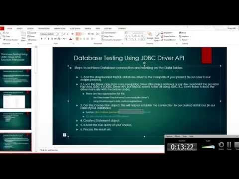 DataBase (Selenium) Testing Using JDBC MySQL Driver API