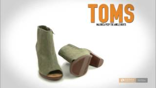 TOMS Majorca Peep Toe Ankle Boots - Quilted Suede (For Women)