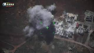 Syria. Artillery made hell for terrorists in Idlib Drone video. سوريا.