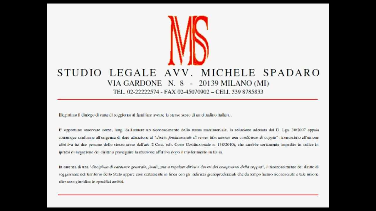 Illegittimo diniego carta soggiorno a familiare con stesso for Permesso di soggiorno ricongiungimento familiare cittadino italiano