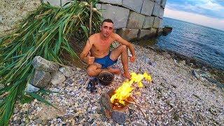 Виживання 24 години на березі Чорного моря Ловлю мідій Строю курінь