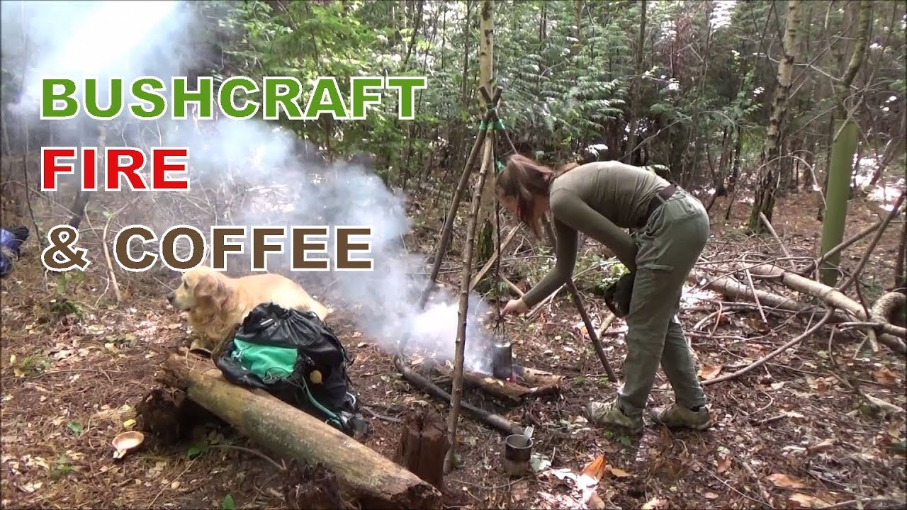 Bushcraft Fire Lighting And Coffee In The Woods