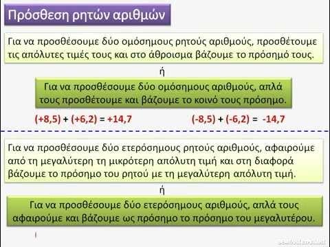 Α Γυμνασίου Θετικοί και Αρνητικοί αριθμοί (μέρος 1ο)