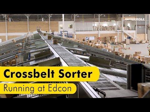 Interroll Crossbelt Sorter running at Edcon