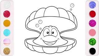رسم وتلوين المحار للاطفال/ لعب ومرح للاطفال/ drawing & coloring Oyster for kids