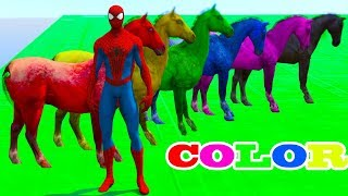 Learn Colors With Animals Cartoon For Kids, Colors With Horses and Spiderman Cartoon For Kids Rhymes