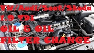 1.9tdi Oil & Filter Change VW Golf Mk4 / Seat Leon mk1 / Audi A3 8l / Skoda