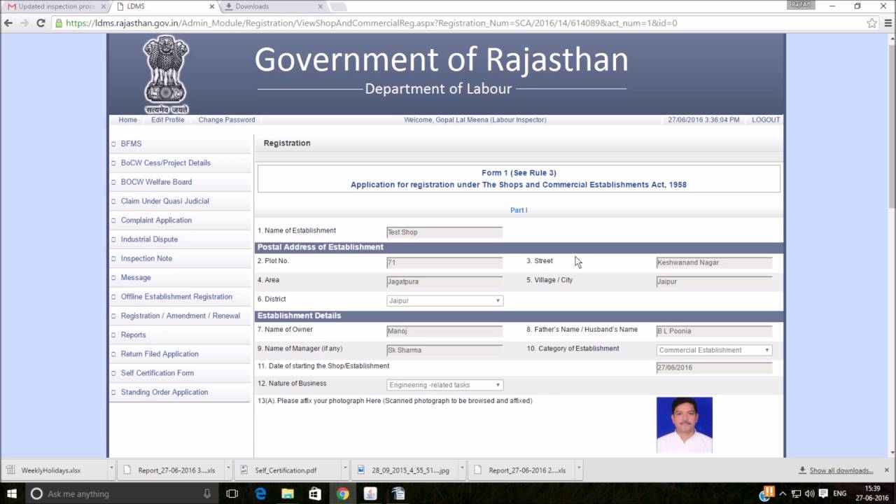 Registration and renewal of certificate under labour laws