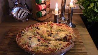 Самая быстрая ленивая пицца, пицца без вымешивания теста, die schnellste Pizza.