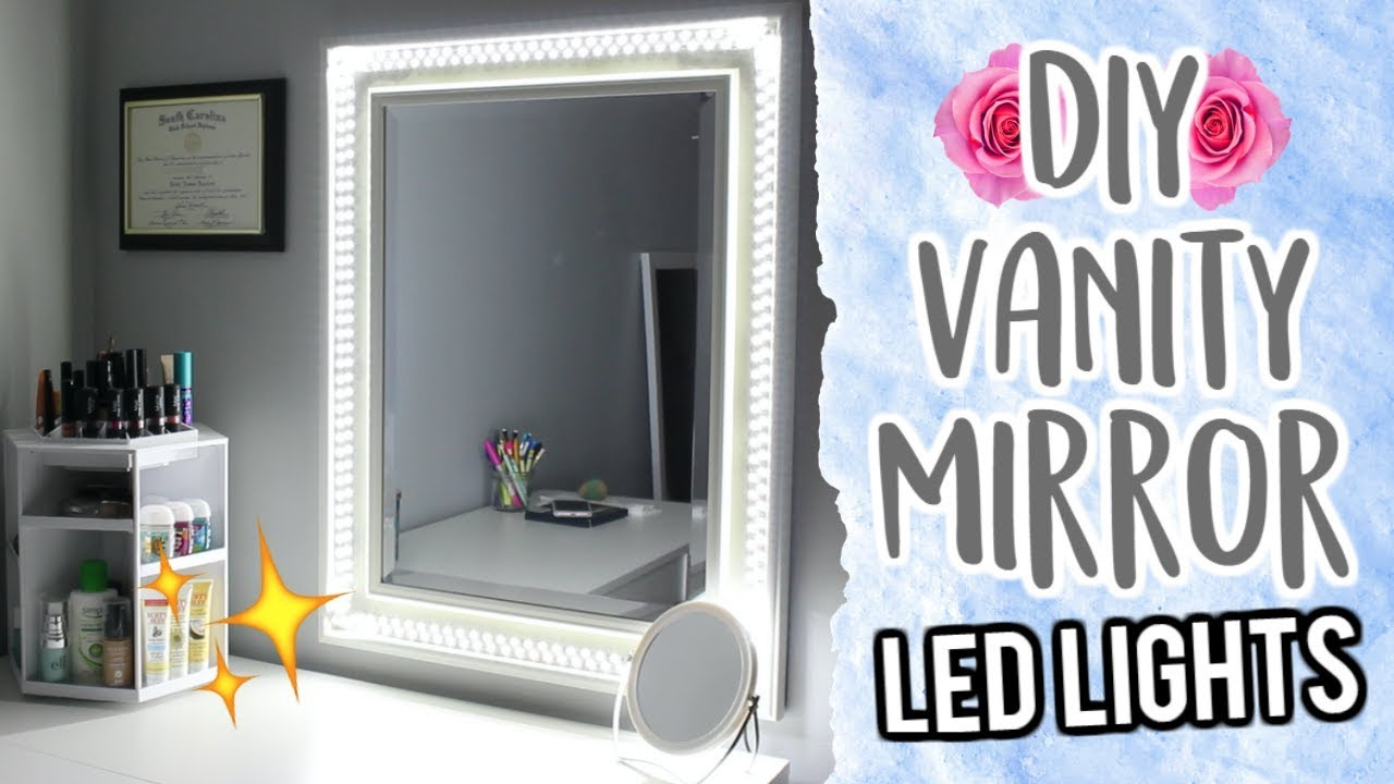 20 diy vanity mirror using led lights cheap and easy youtube. Black Bedroom Furniture Sets. Home Design Ideas