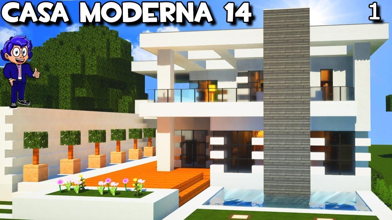 Casa moderna 14 con garaje y piscina en minecraft for Casa moderna 6 mirote y blancana