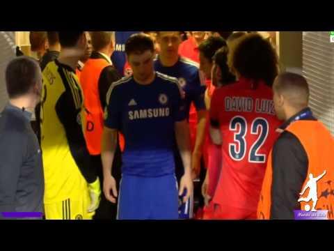 David Luiz pushes Branislav Ivanović in Locker Room ~Chelsea Vs PSG ~Champions