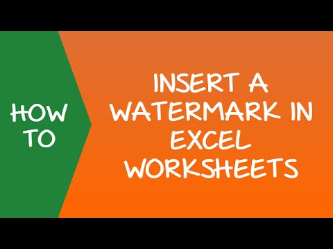 How to Insert a Watermark in Excel Worksheets