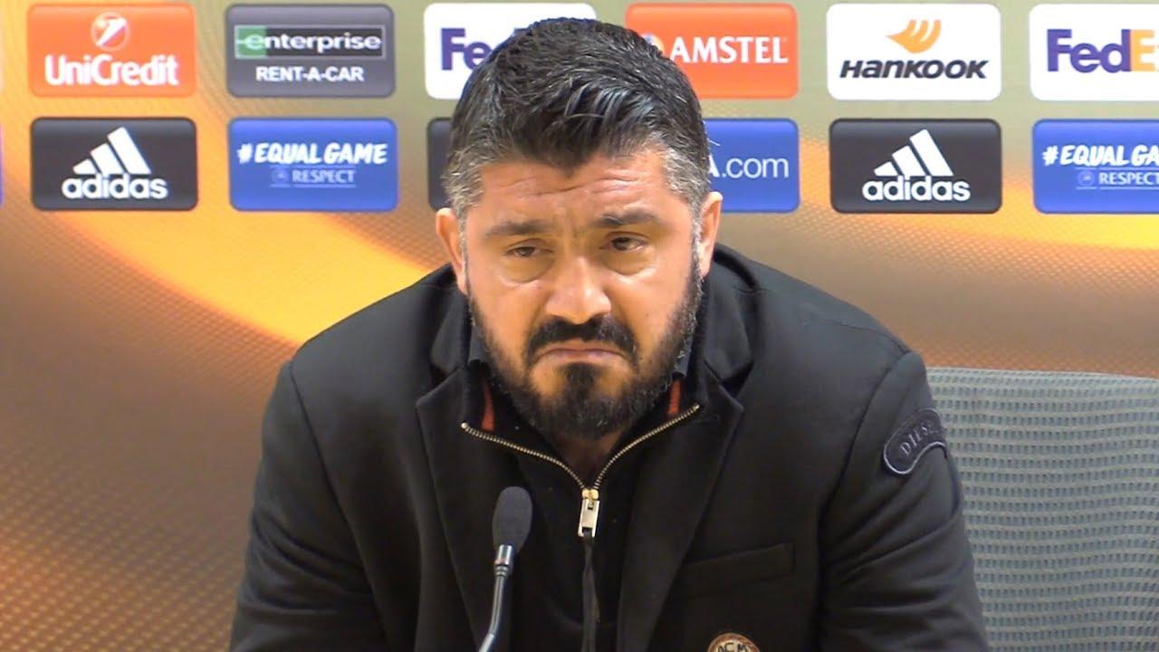 Arsenal 3-1 AC Milan (Agg 5-1) - Gennaro Gattuso Full Post Match Press  Conference - Europa League - YouTube