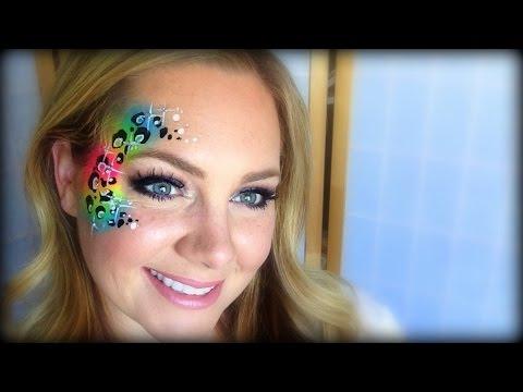 Leopard Face Paint Rainbow