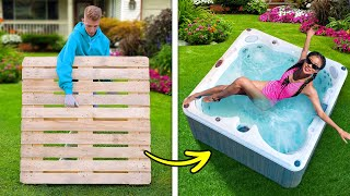 DIY BACKYARD POOL || Dollar Store DIY Ideas From Wooden Pallets || Giant Crafts And DIY Furniture