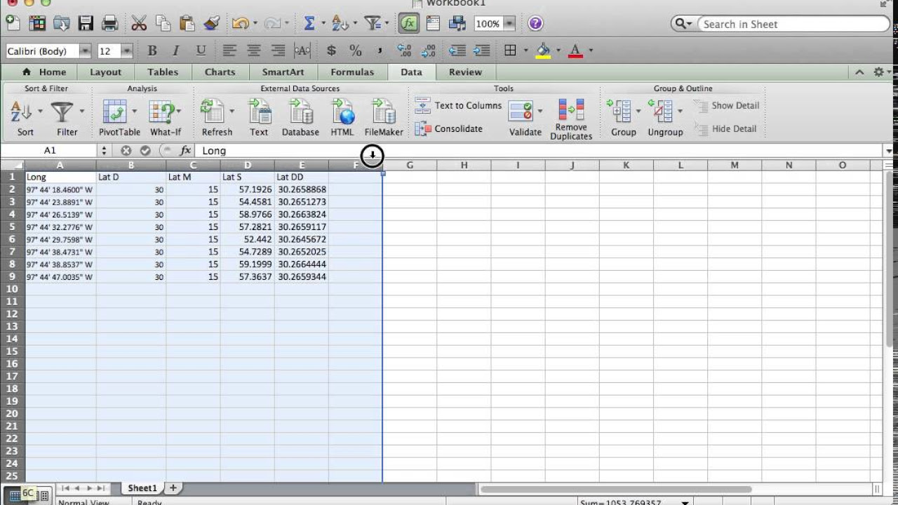 How to Convert Lat Long in DMS to Decimal Degrees in Excel