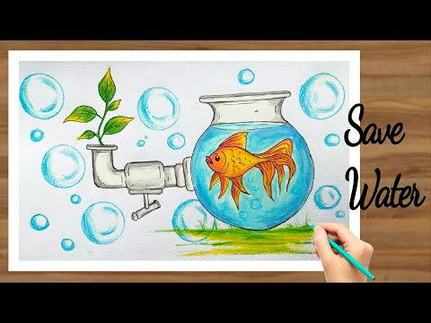 How To Draw Save Water Painting Step By Step With Oil Pastel And Pencil Colour For Kids