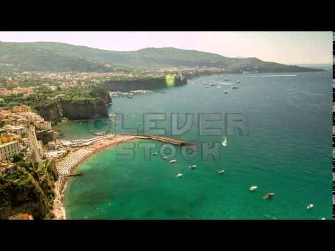Background Beach Water House Summer Nature Sea Travel Tourism Amalfi Europe - Stock Footage