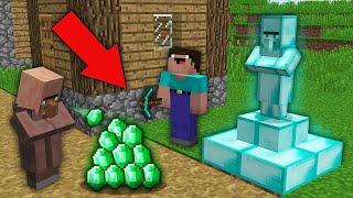 Minecraft NOOB vs PRO:WHY NOOB BUILD DIAMOND VILLAGER STATUE IN THIS VILLAGE?Challenge 100% trolling
