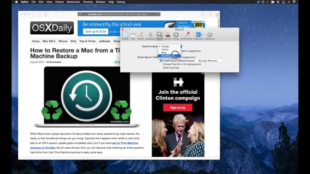 To change the default search engine in safari for mac os x youtube