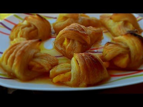 Слоёные рулетики под апельсиновым соусом,  Flaky rolls with orange sauce