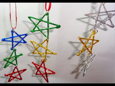como hacer moviles de estrellas para el arbol de navidad