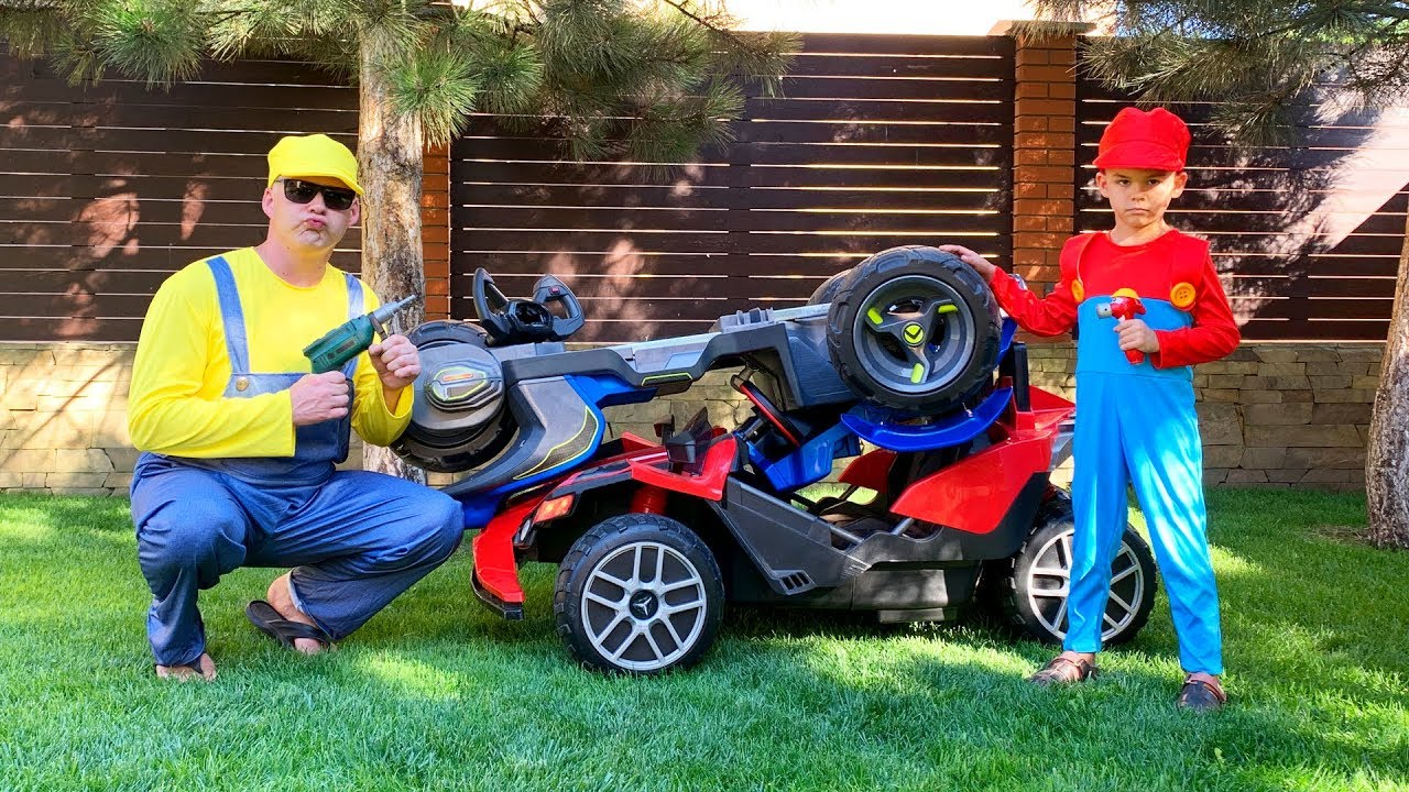 Dima and Funny Daddy repair power wheels cars