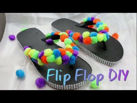 Pom Pom Flip Flop DIY Dollar Tree - YouTube