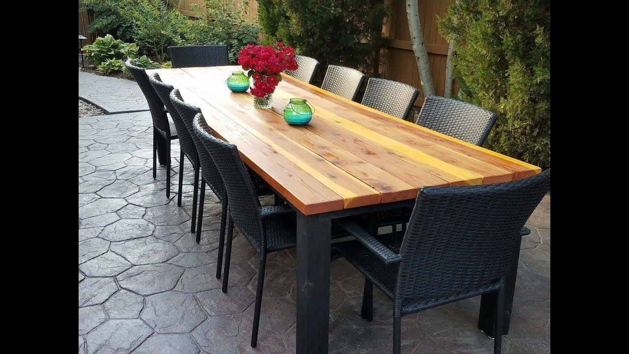 DIY Outdoor Dining Table   YouTube DIY Outdoor Dining Table