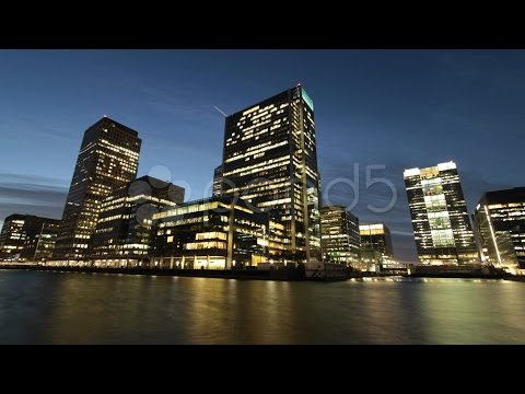 Time Lapse of London's Canary Wharf Offices at Night. Stock Footage