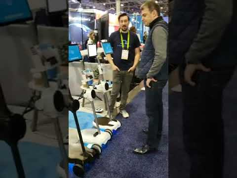 Kambria CTO, Jared Go, with Ohmni Robot at CES 2019