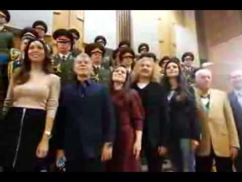 Алсу и другие звезды записали Гимн России (Любительская съемка 3)