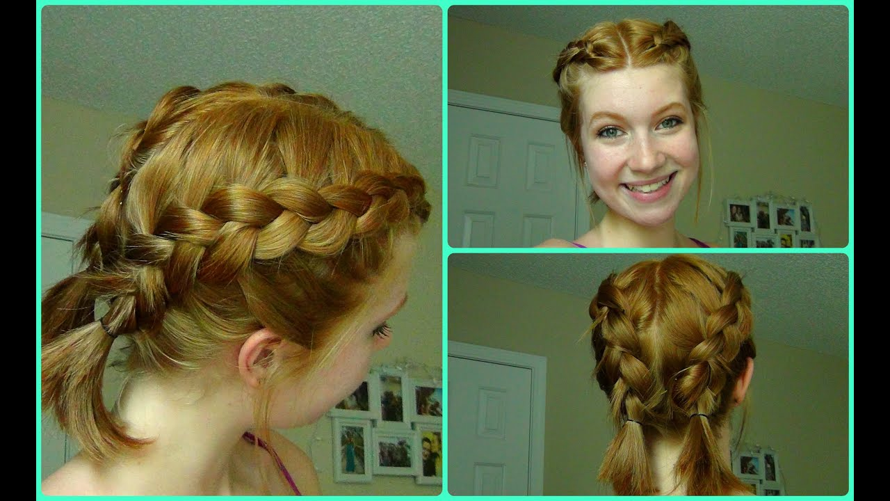 Pool/Beach Dutch Braids ~ Short Hair - YouTube