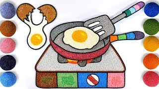 Coloring fried eggs with Foam clay for Kids, Children | egg, frying pan, turner, Stove