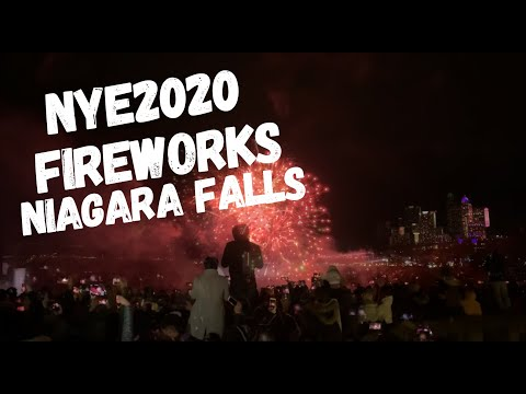 NYE2020 Fireworks Over Niagara Falls, Canada, Happy New Year.