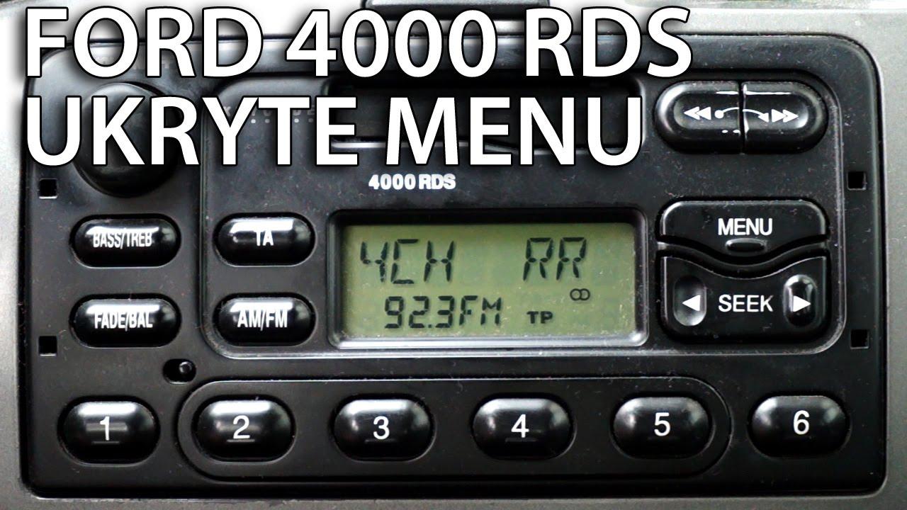 radio ford 4000 rds tryb serwisowy i test głośników (ukryte menu